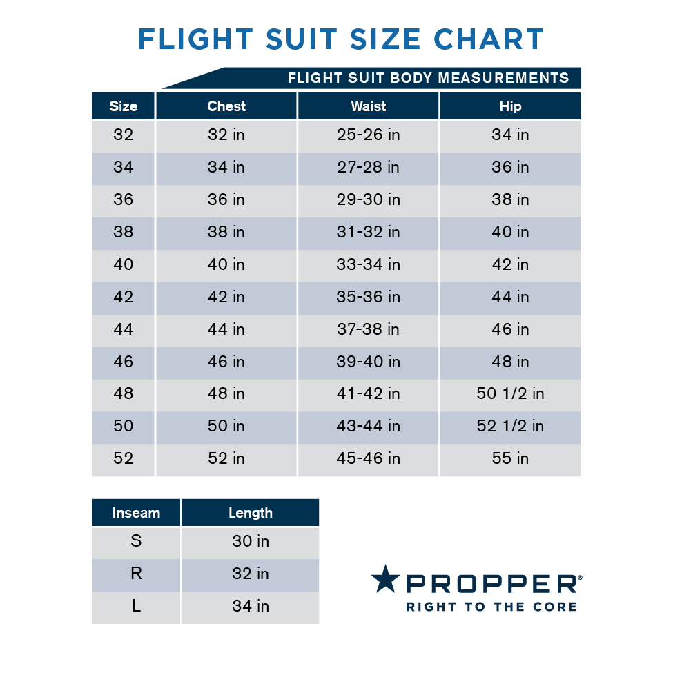 Propper Flight Suit Fit Size Chart