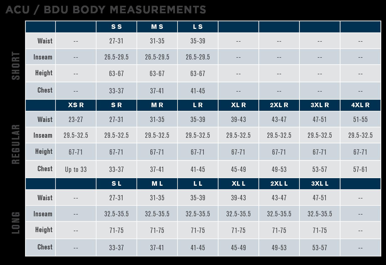 Propper ACU Size Chart