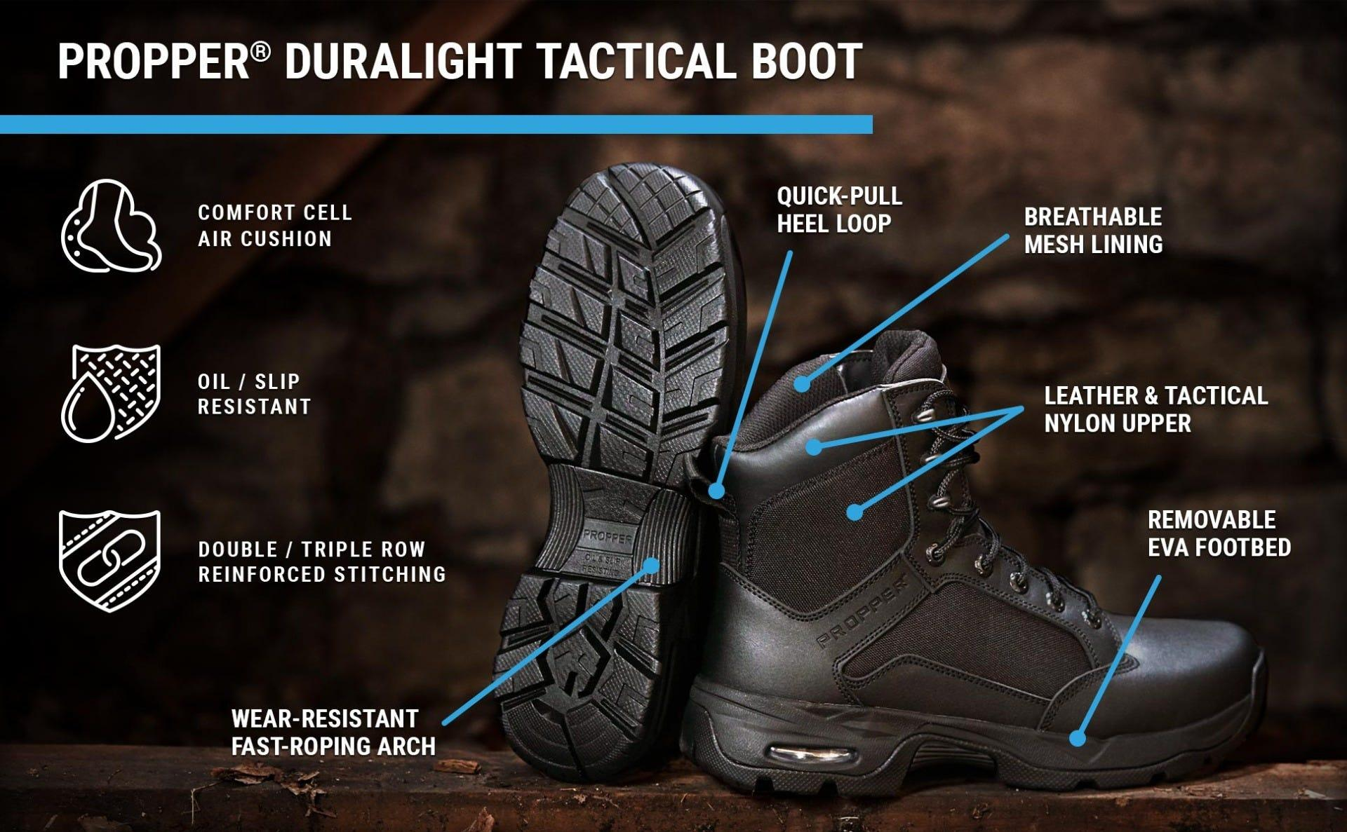 Black Duralight tactical boot has breathable mesh lining, leather upper, removable insert and oil and slip resistance with air cushions.
