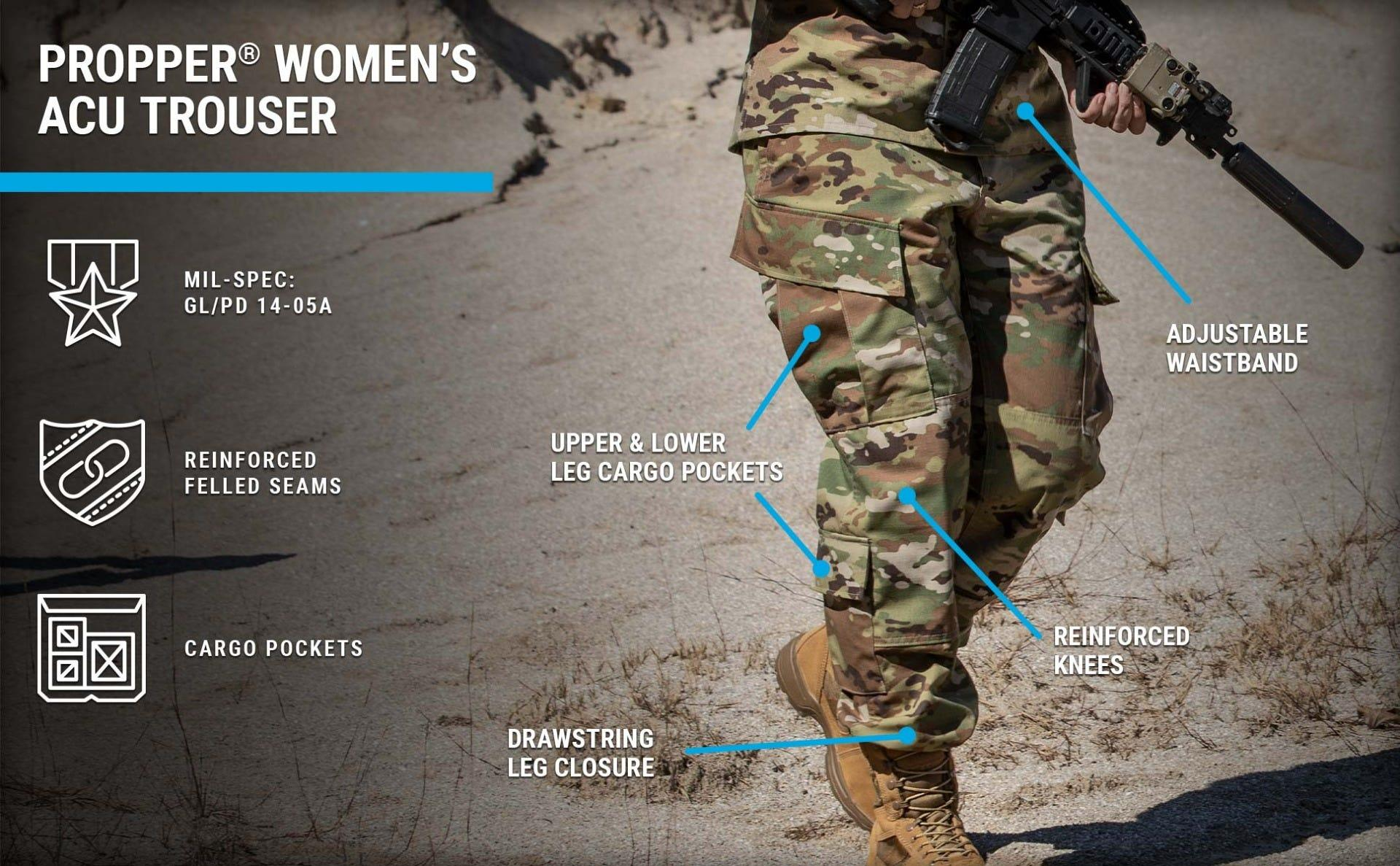 Women's combat trousers in OCP sewn to military specifications for active duty