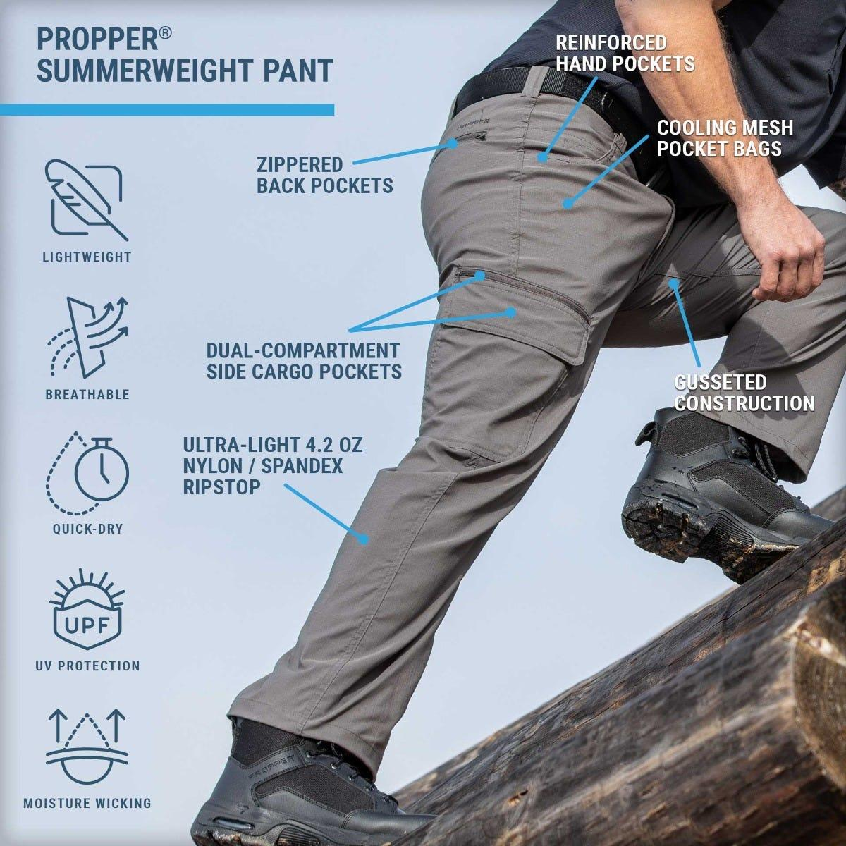 Propper Summerweight Pants feature ultra-light stretch fabric with UV protection, cool pockets and dry quickly for breathable performance.