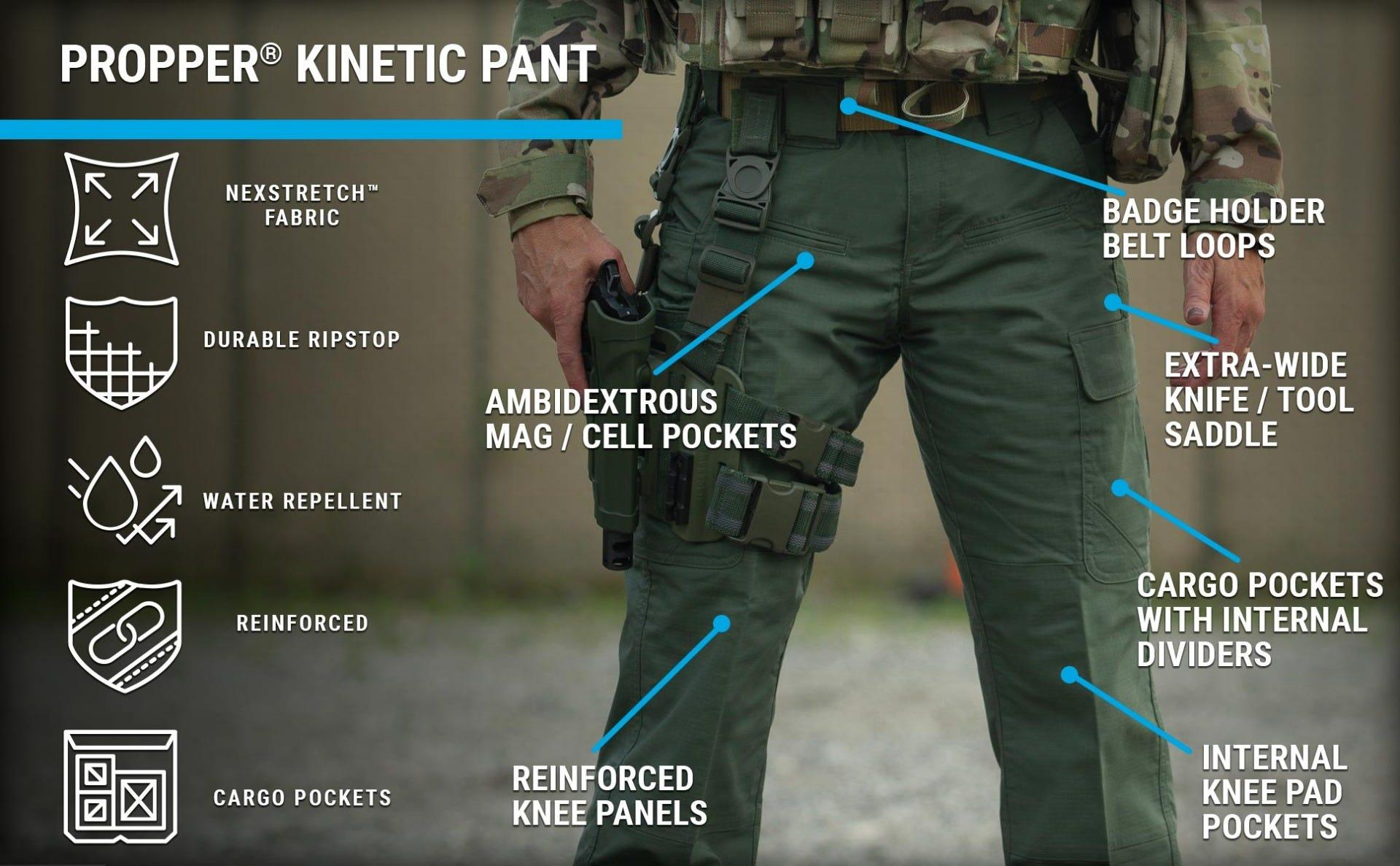 Woman on range in KInetic Tactical pants with great fit, premium stretch fabric, cell phone and cargo pockets