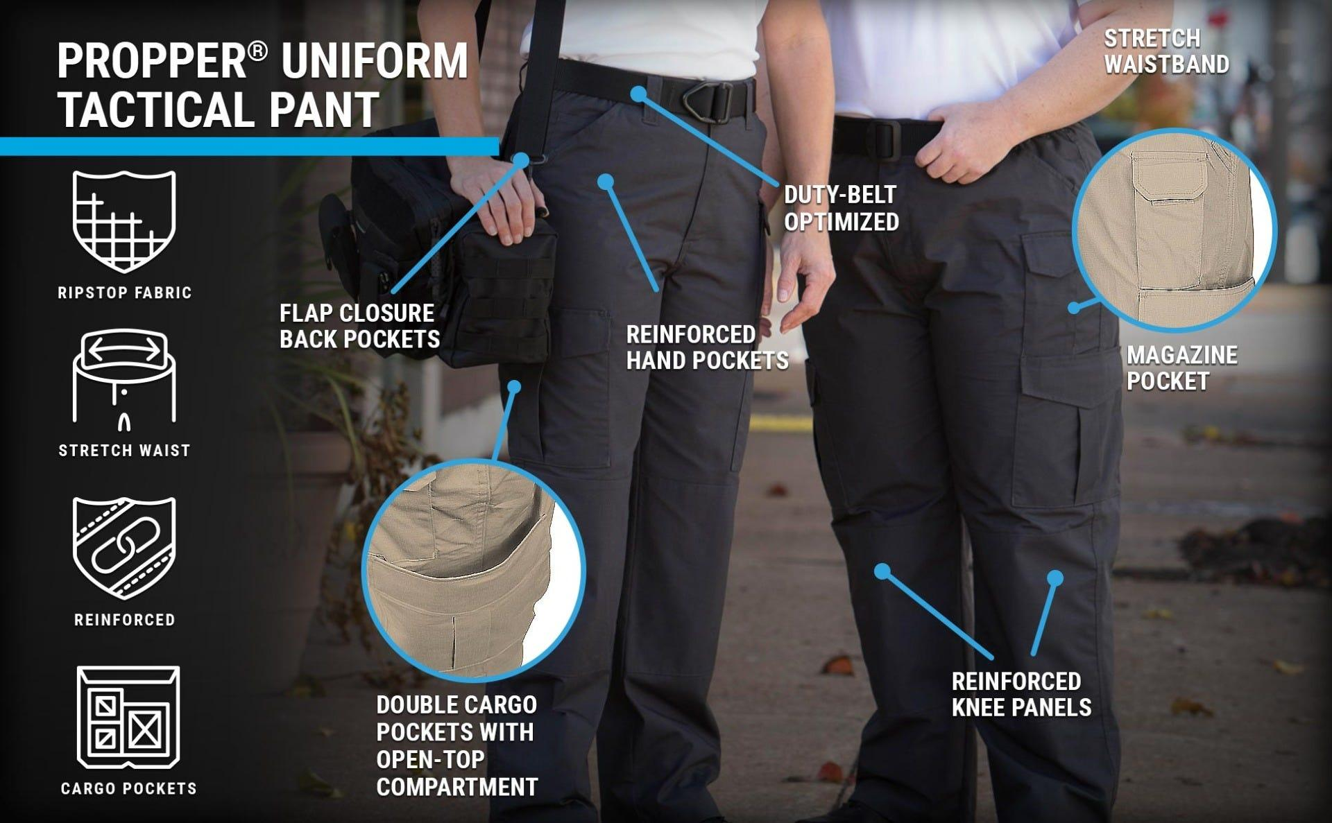 Average and plus size women in navy ripstop uniform tactical pants with cargo pockets