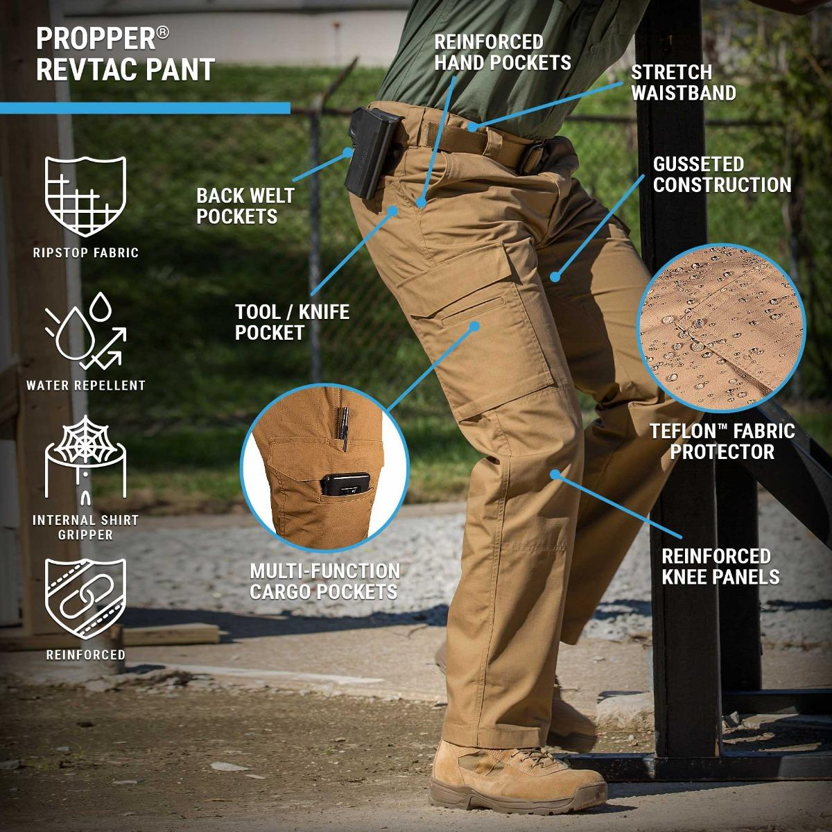 RevTac Tactical Pants have a slider waistband with gusseted construction, DWR and cargo pockets in a modern updated design.