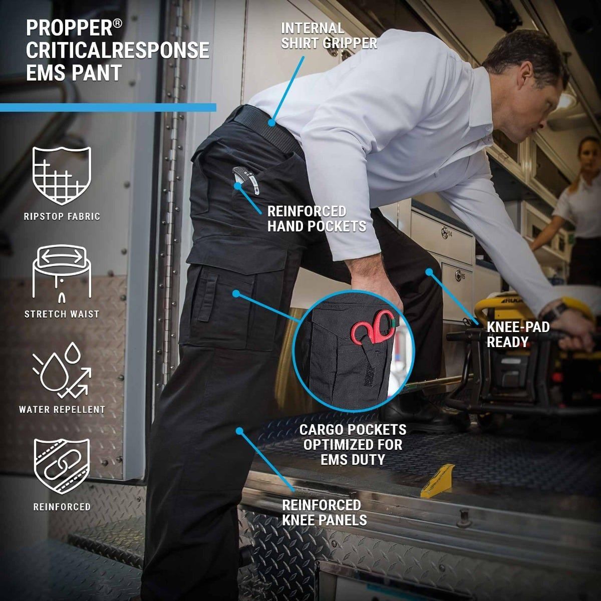 The Propper CriticalResponse EMS Pant features cargo pockets with scissor strap, knee pad inserts and DWR for EMT performance.