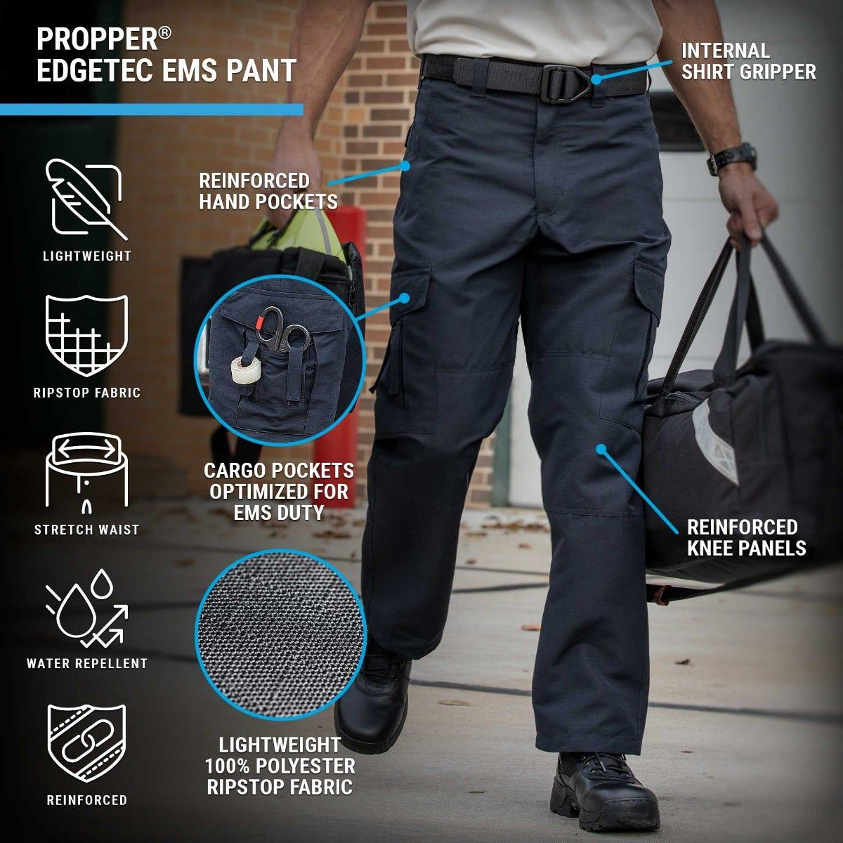 The EdgeTec EMS Pant showcases cargo pockets with scissor straps and reinforced knees in a water-resistant lightweight ripstop fabric for EMTs.