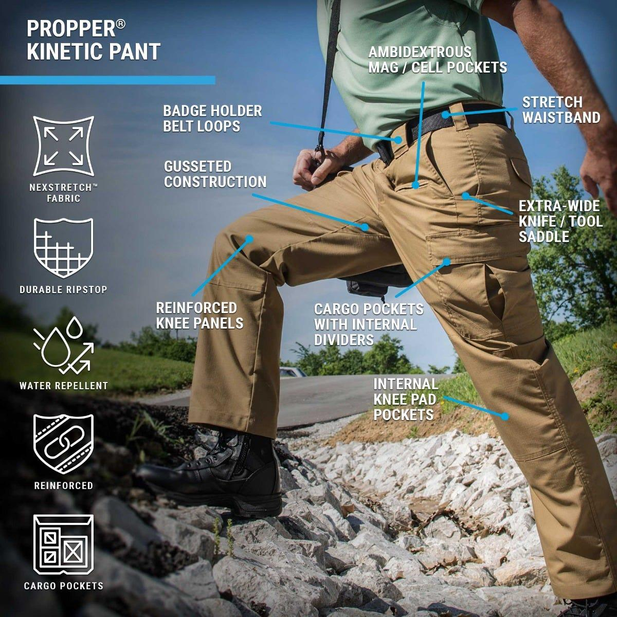 Kinetic Tactical Pants feature premium stretch ripstop fabric with a gusseted construction, slider waistband and reinforced knees for movement.