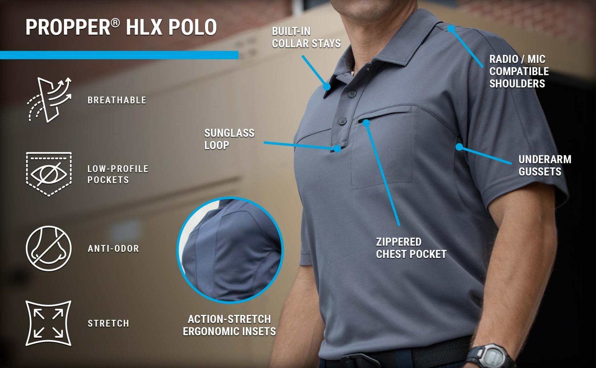 The casual HLX polo features action stretch panels, a zippered chest pocket, anti-odor technology and underarm gussets.