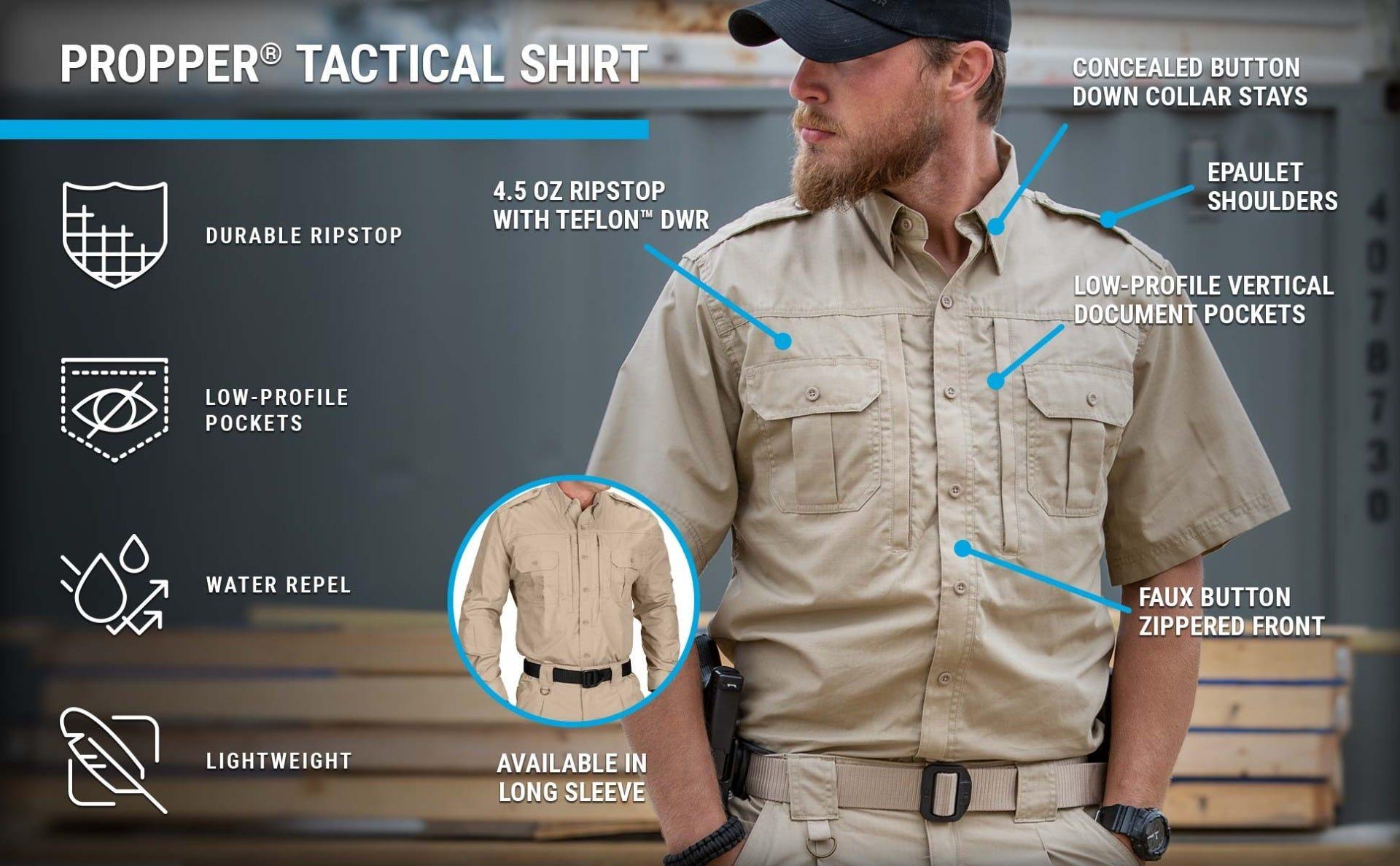Guy on range in khaki ripstop tactical shirt, tactical pant, belt and ball cap