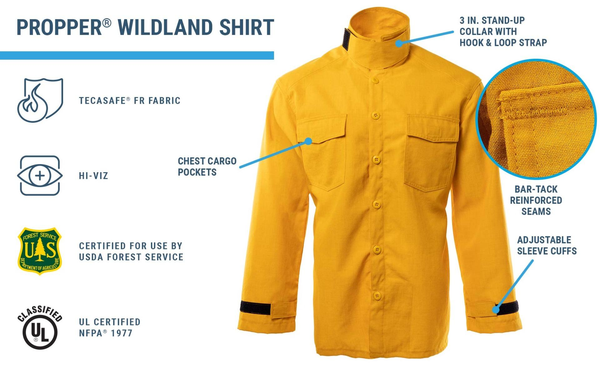 Yellow fire resistant Wildland shirt with chest cargo pockets and bar tack reinforcements