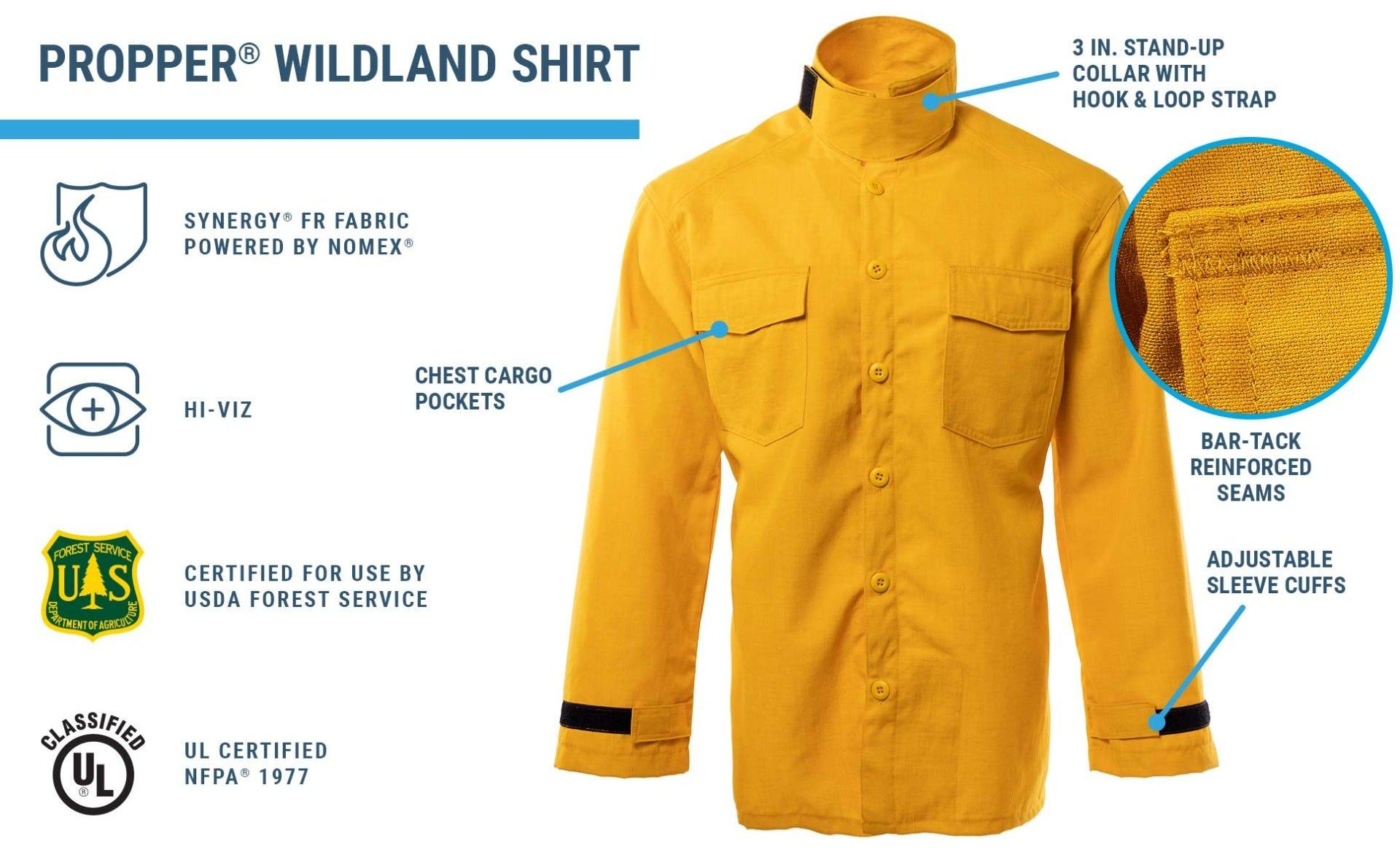 Yellow lightweight shirt with chest pockets and stand up collar and adjustable cuffs