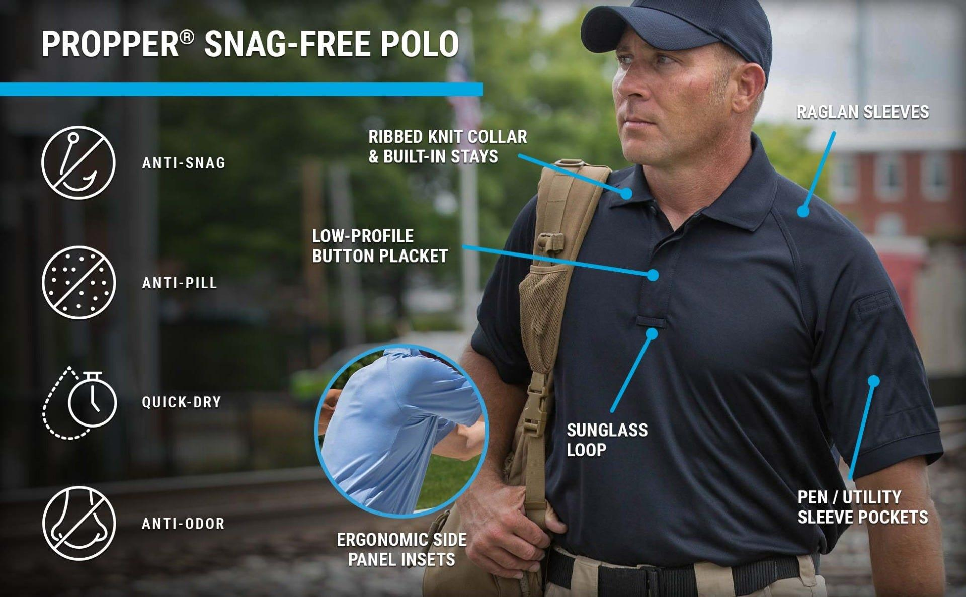 The low profile button placket, raglan sleeves and inset side panels featured on the Snag Free polo on man holding backpack.