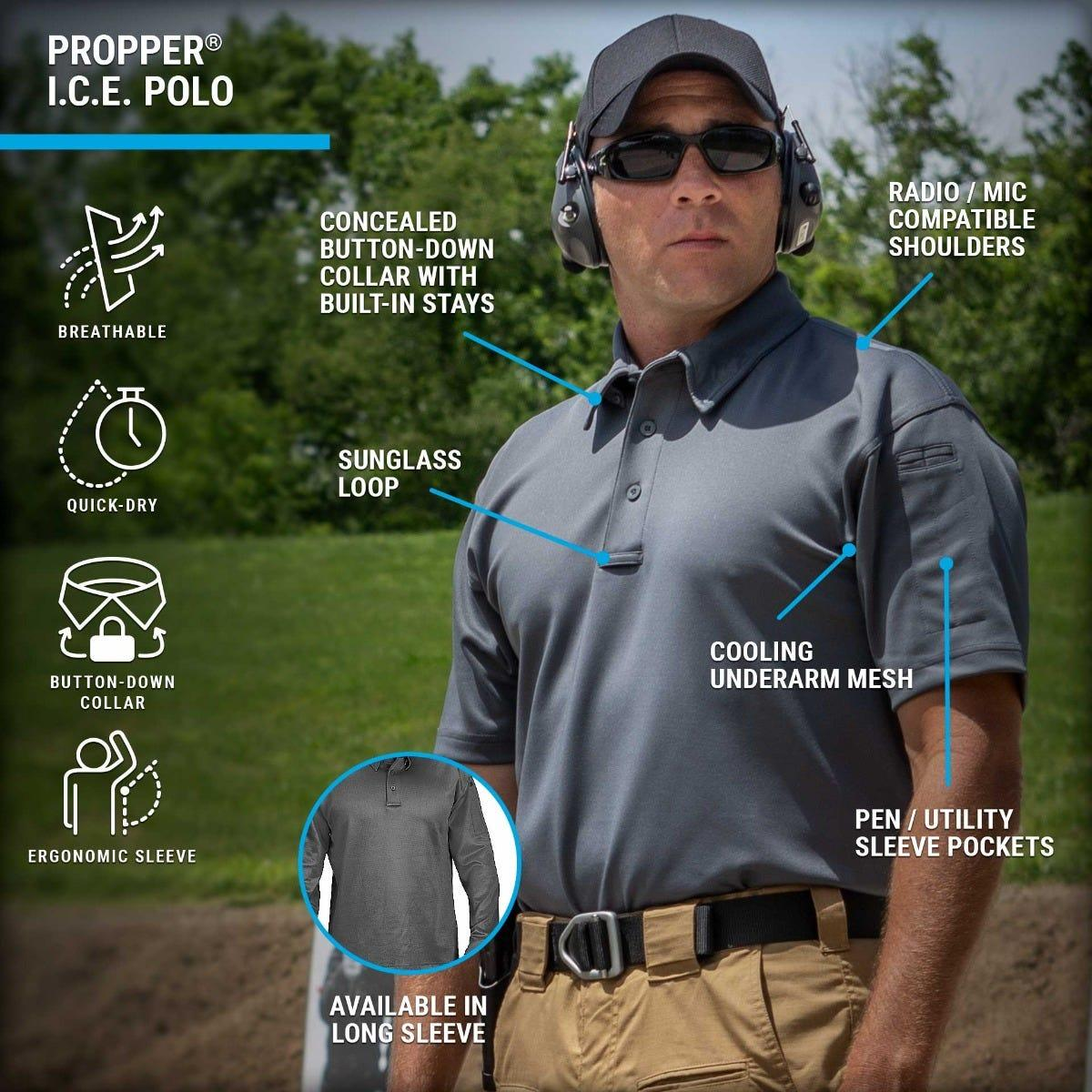 On the range, the ICE polo offers cooling underarms, radio and mic clips breathability for all day performance.