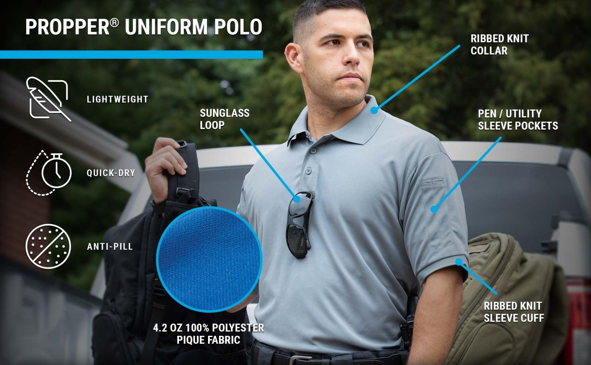 The Men's Uniform Polo with sunglass loop, pen pockets, quick dry capabilty on a guy throwing his backpack over his shoulder.