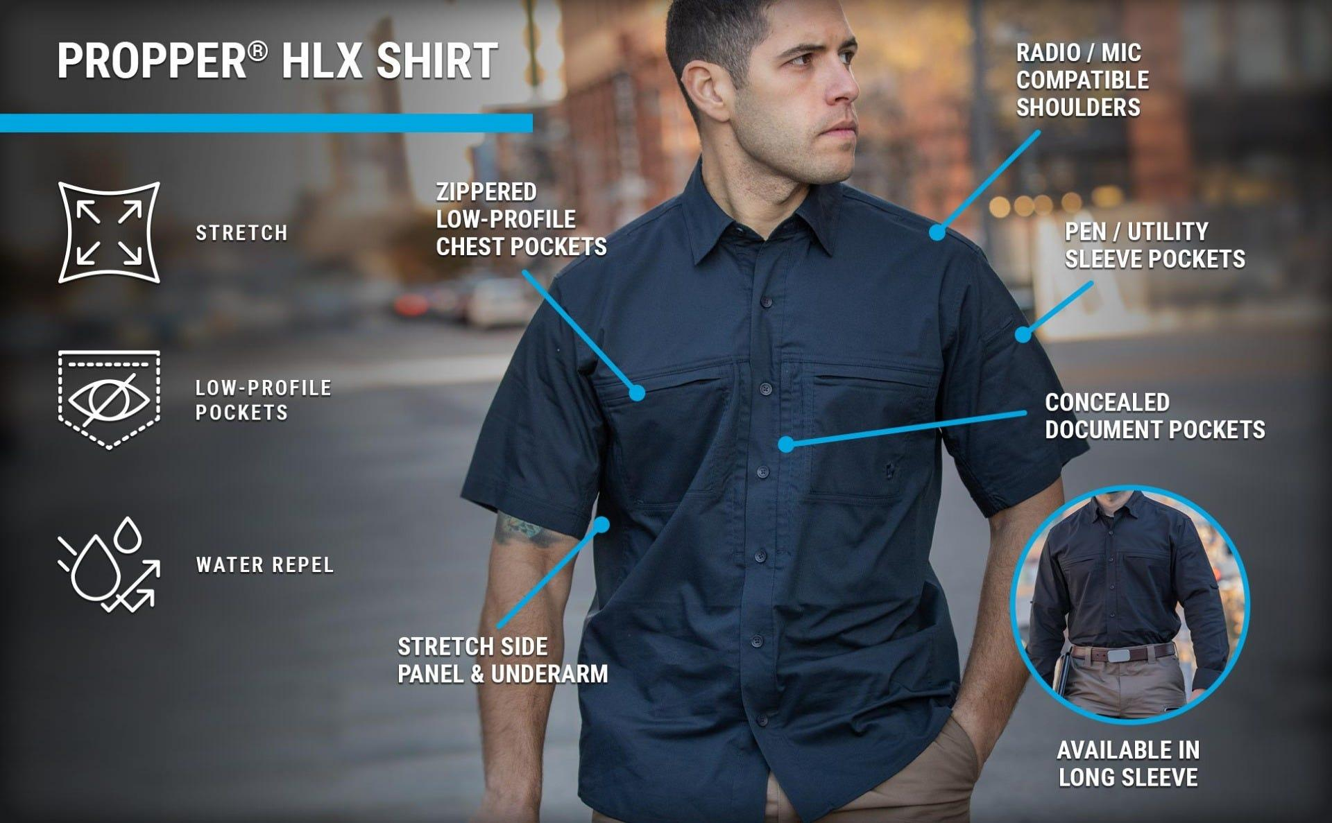 Casual navy long sleeve button down shirt untucked on guy walking in city with concealed pockets.