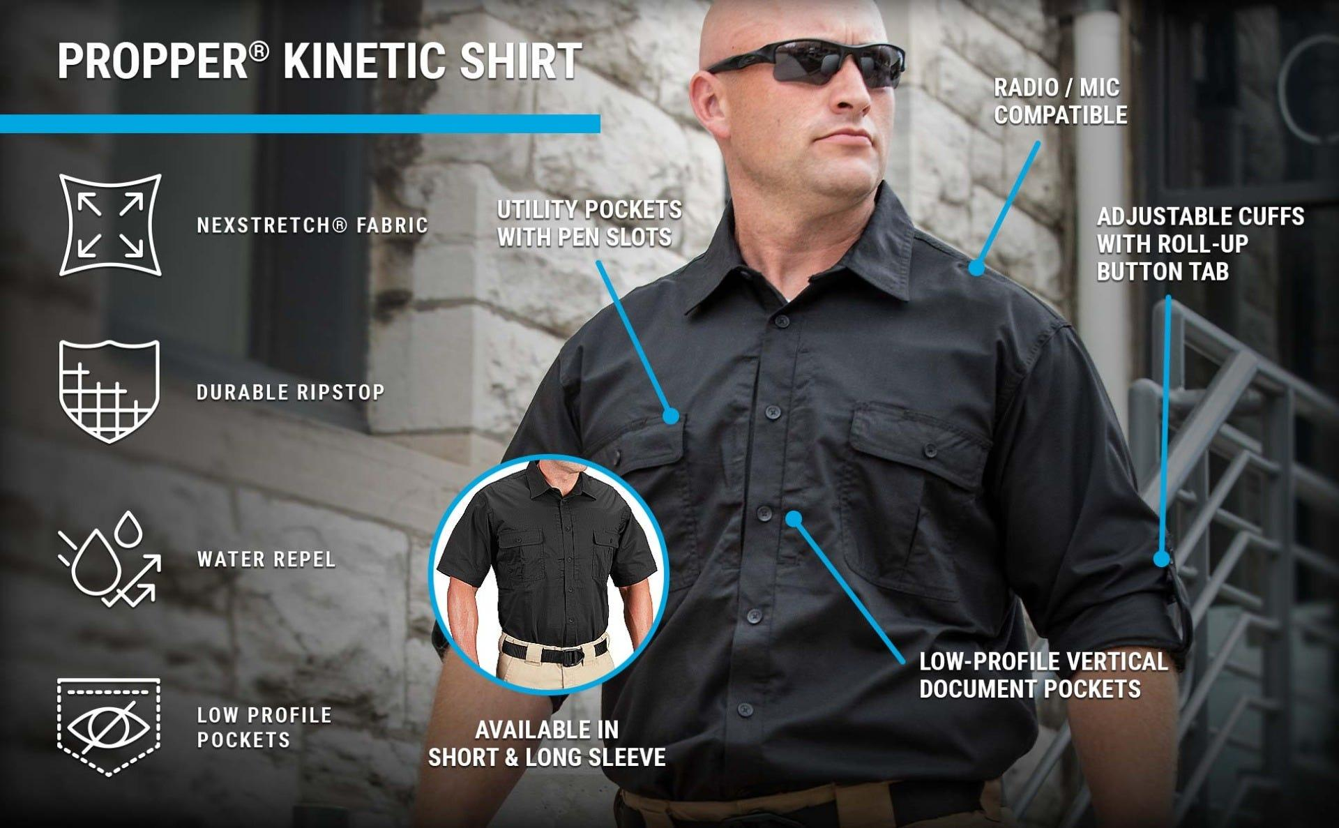 Black tactical button down shirt with rolled sleeves offering concealed document pockets