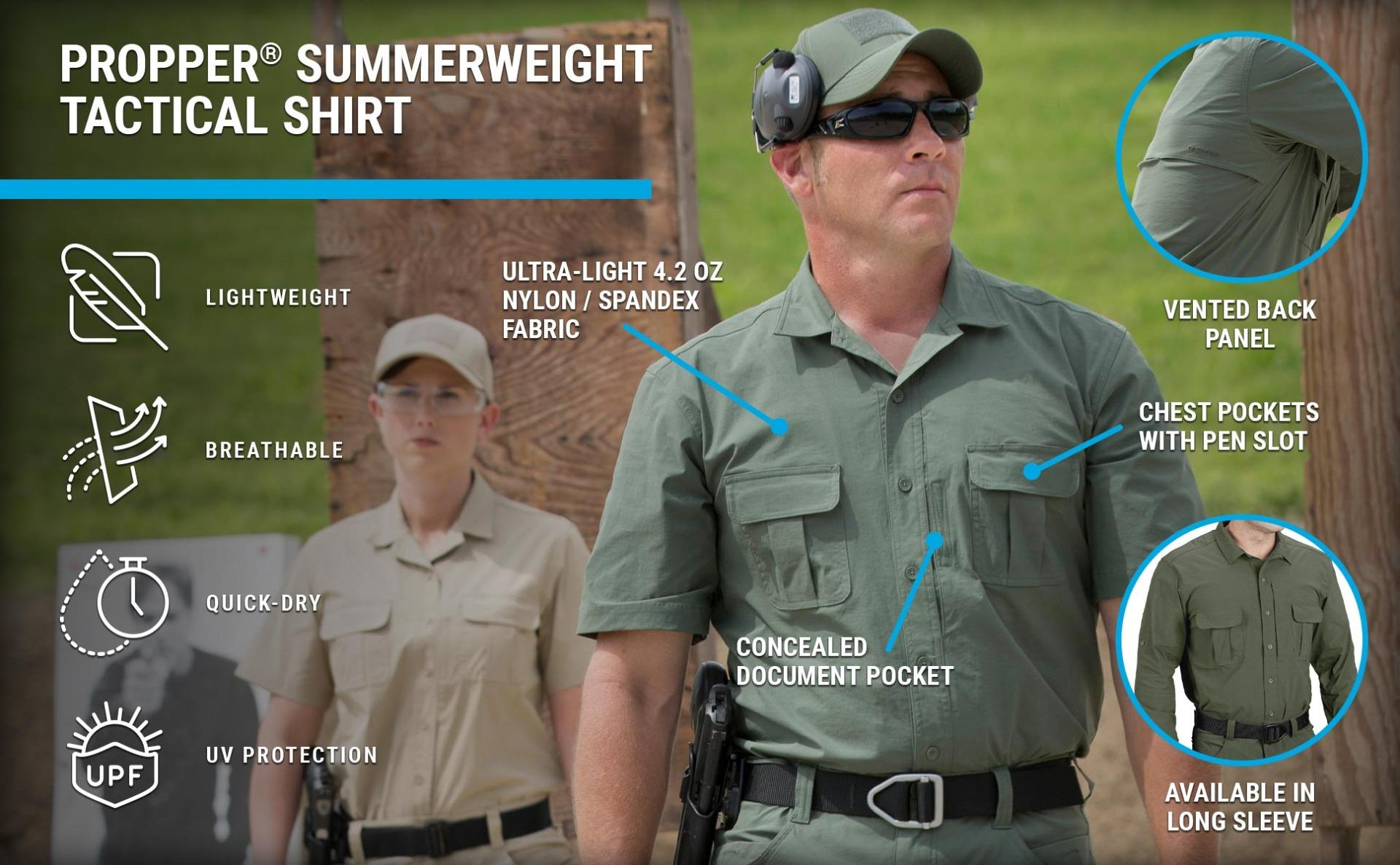 Short sleeve Summerweight olive shirt with air vents, breathable lightweight material, UV protection on hot day at range