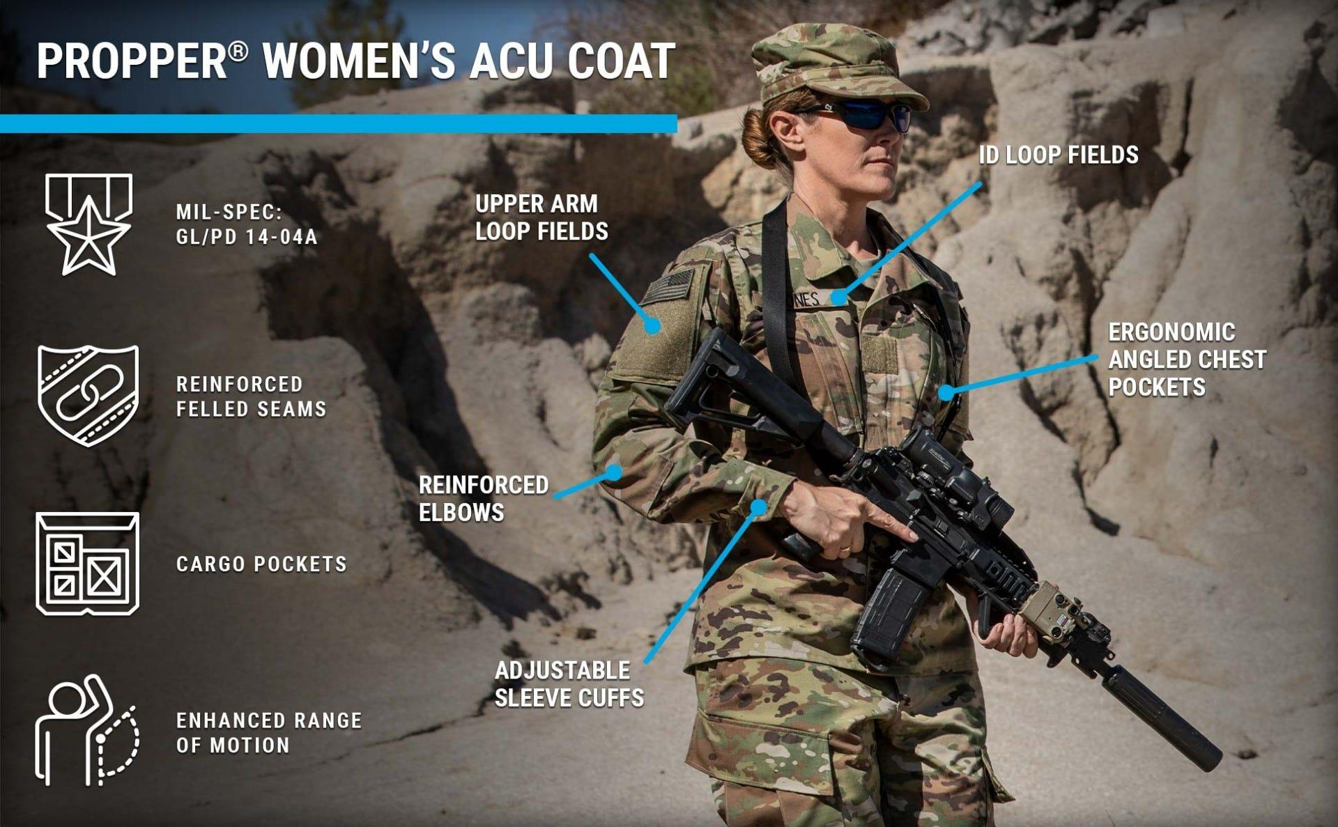 Women's combat coat in OCP sewn to military specifications for active duty