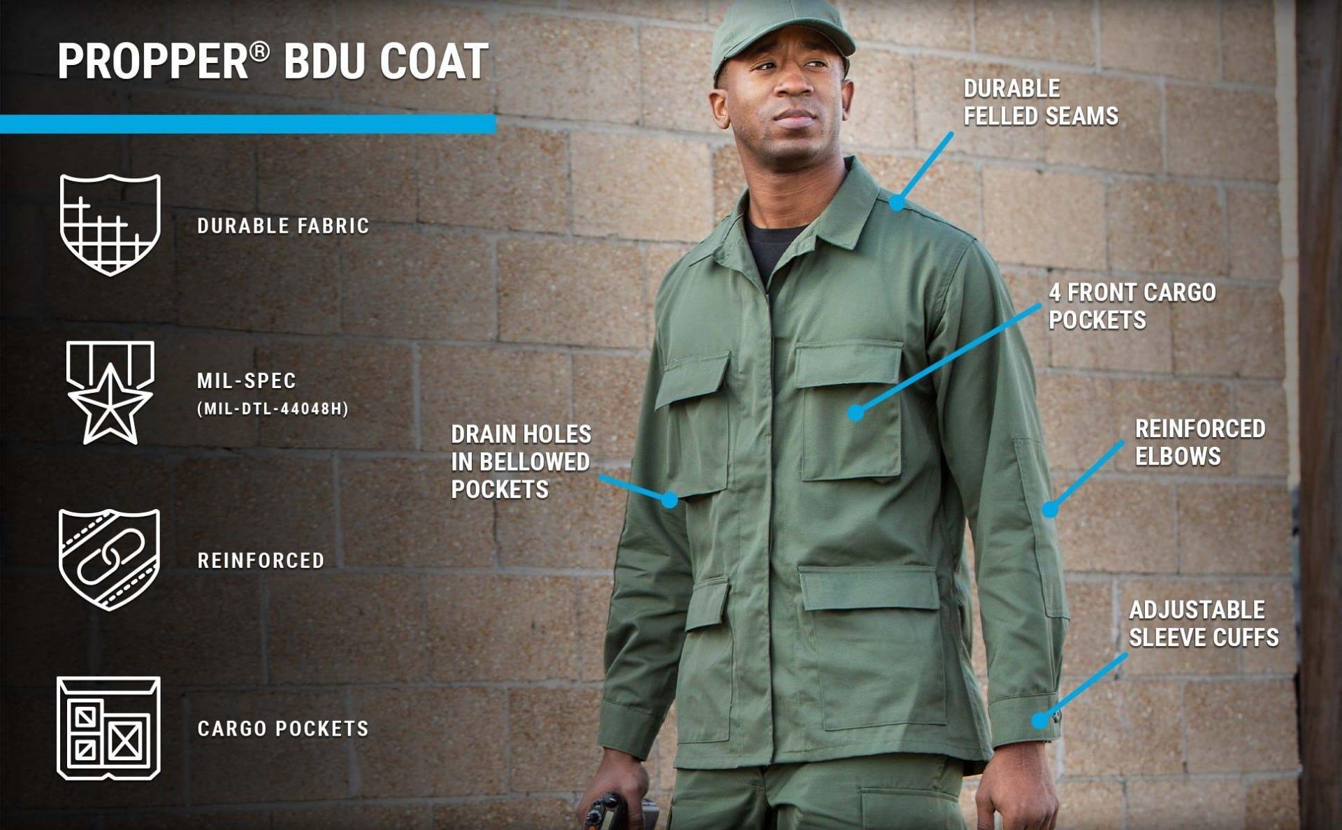 Man wearing olive BDU Coat with 4 cargo pockets and BDU patrol cap walking