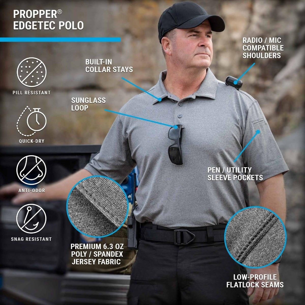 Men's range EdgeTec polo is great fitting and offers mic clips, sunglass loop, flatlock seams and preimum fabric for performance.