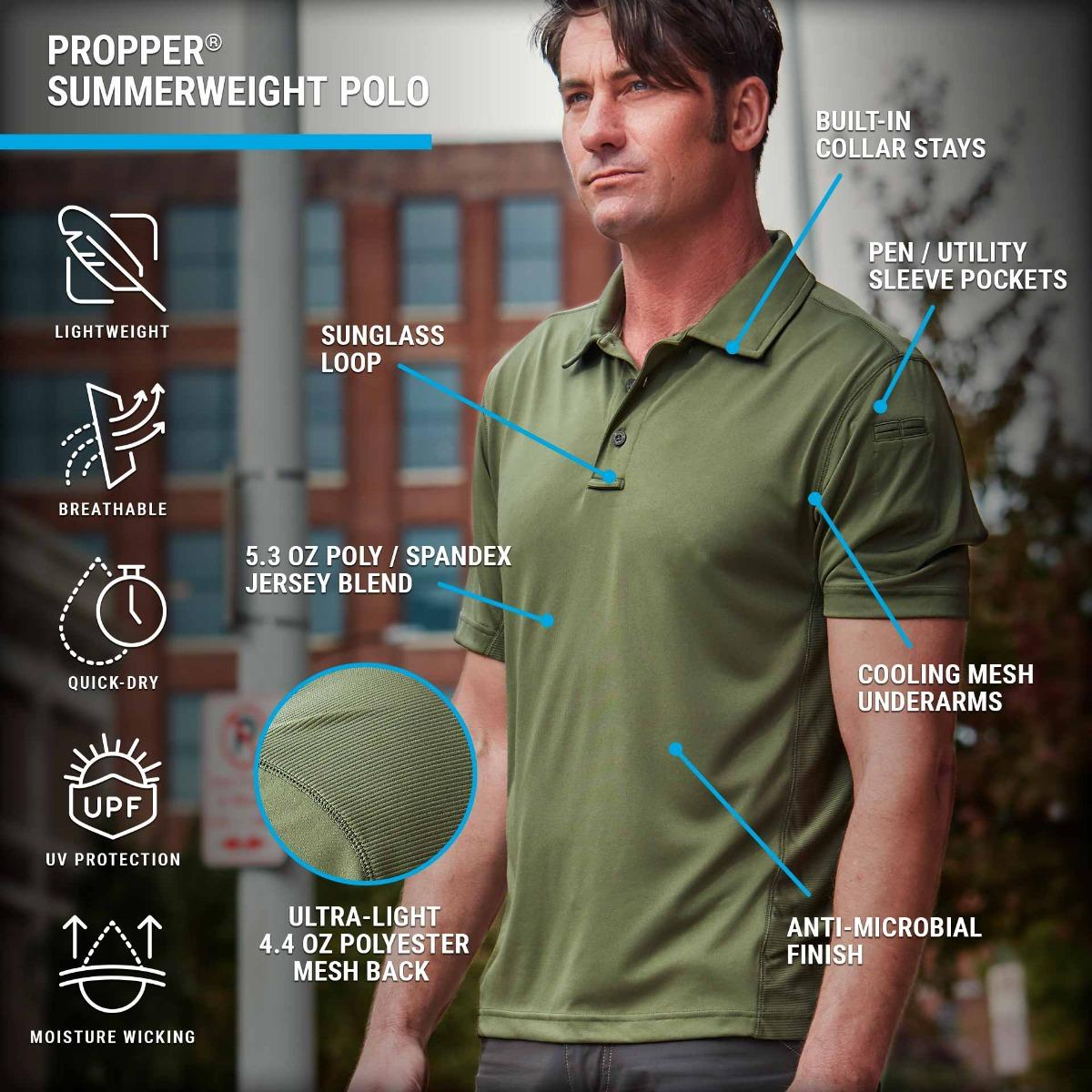 The Summerweight Polo features UV protection, cooling mesh underarms and ultra-light fabric for breathable performance.