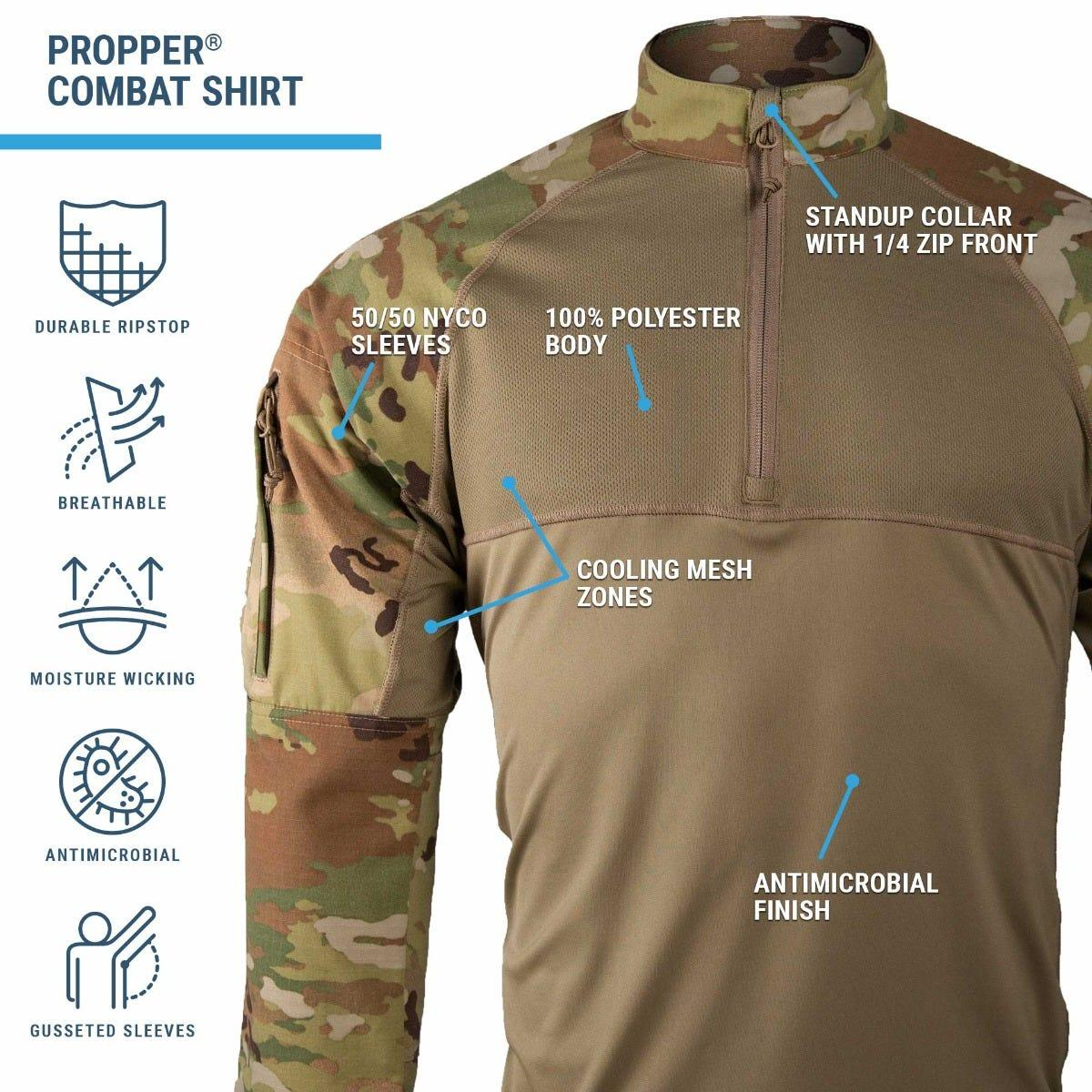 OCP Combat shirt with scorpion camouflage sleeves and cool mesh tan body offers stand up collar, reinforced elbows and pockets.