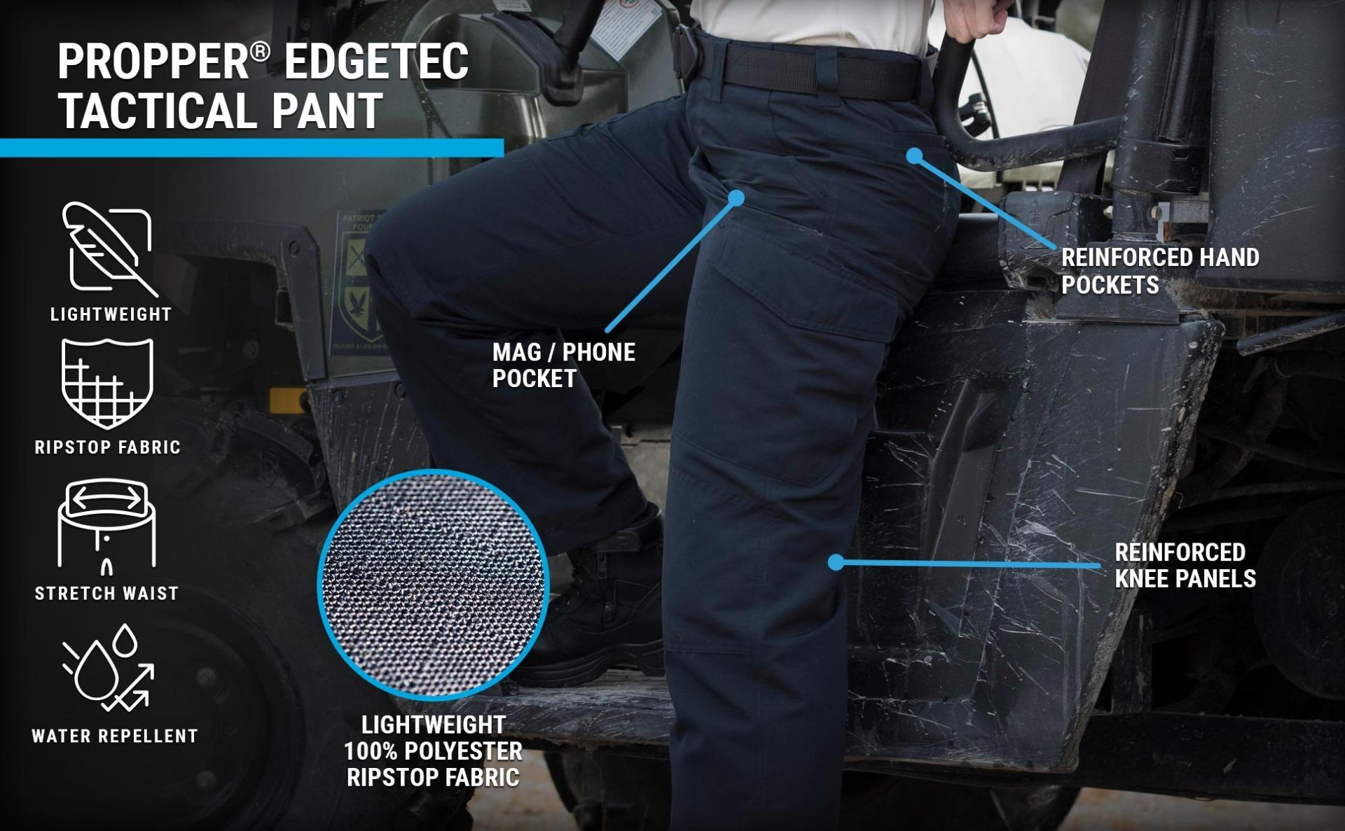 Navy women's edgetec pants are lightweight ripstop with water repellent, cell phone pocket and reinforced knees