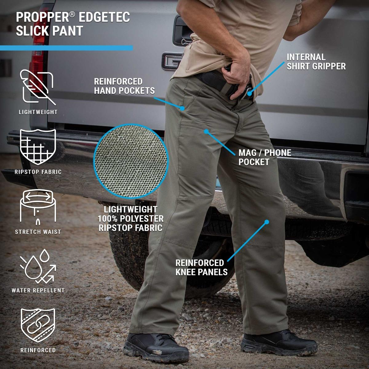 EdgeTec Slick Pants feature lightweight water-resistant ripstop fabric with reinforced knees and a cell phone pocket in a covert design.