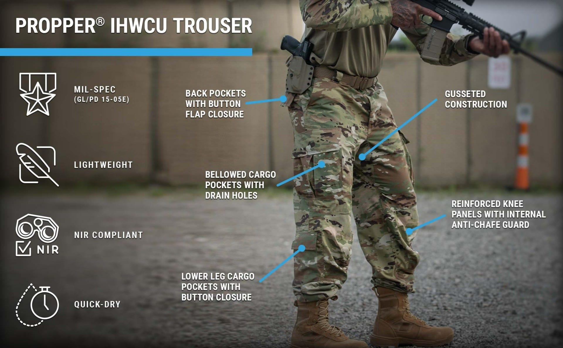 Hot Weather Combat Trouser featuring cargo pockets and nylon knee guards worn by man holding rifle