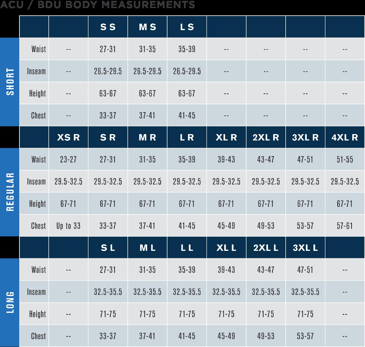 ACU/BDU Size Chart