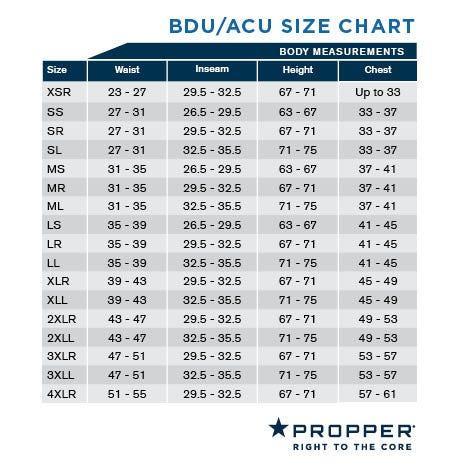 Propper BDU Size Chart