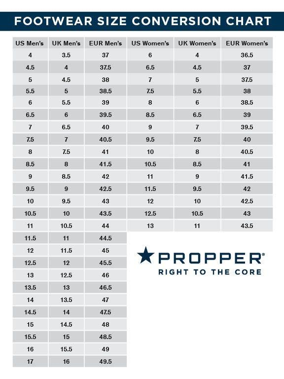 Propper Boots Size Conversion Chart
