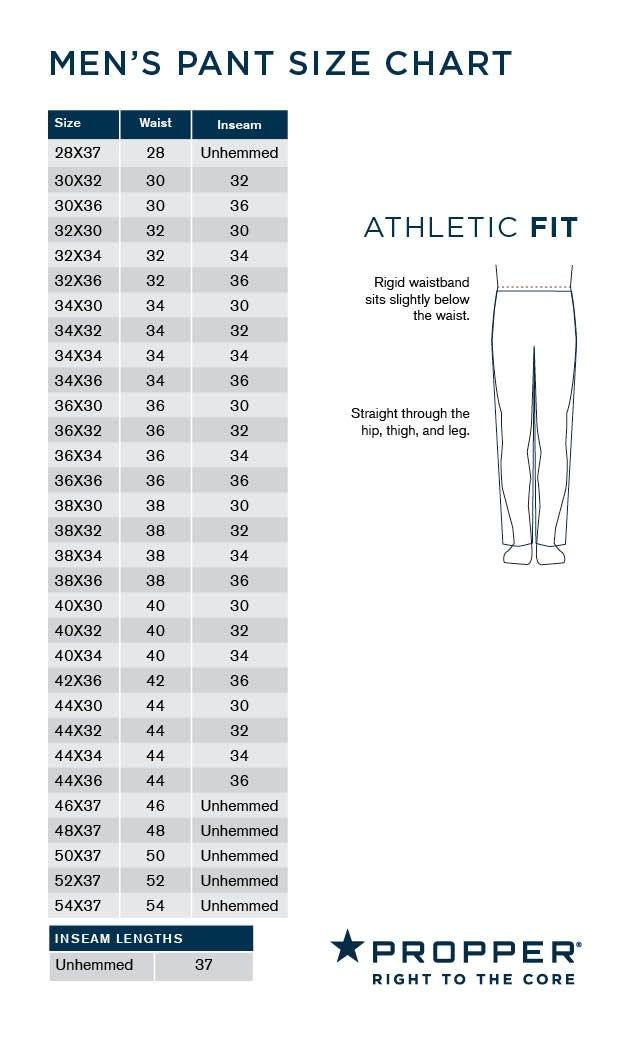 mens pant size chart athletic