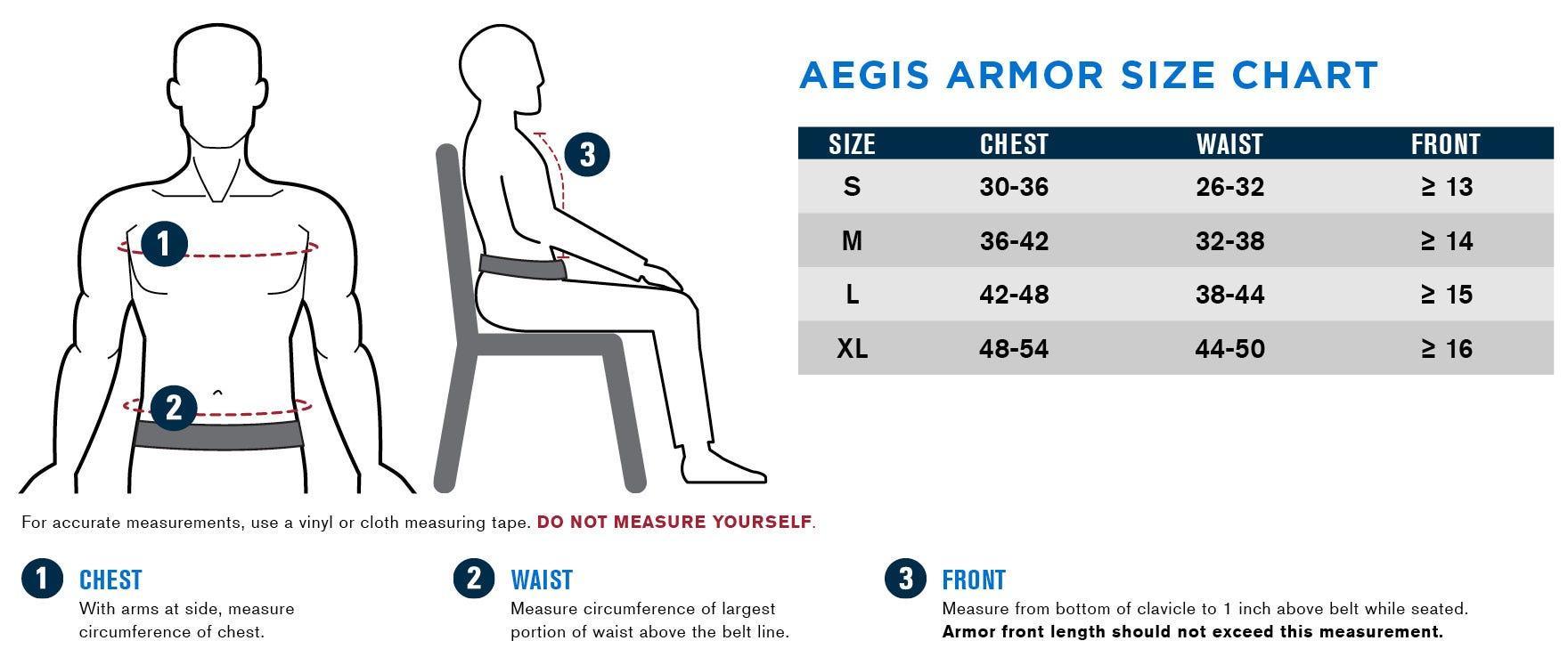 Propper Aegis SAPI Size Chart