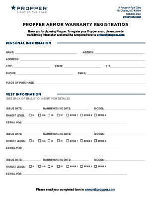 Propper Armor Warranty Registration Form