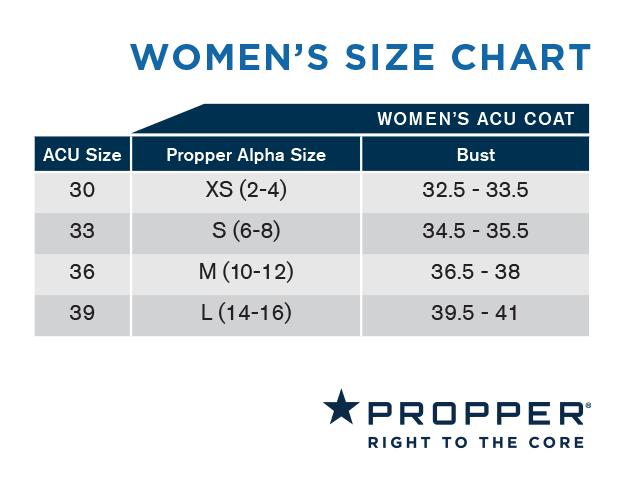 female military size chart